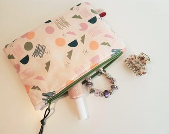 Pink Geometric Collection, medium size pouch, clutch bag, wallet, make-up bag