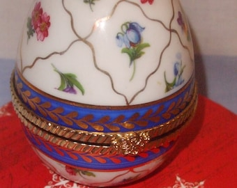 c. Regal porcelain egg, Egg Shaped trinket box, Regal trinket box, hand painted porcelain trinket,