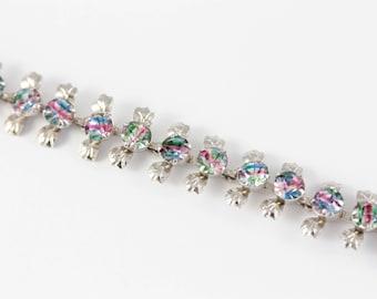 Vintage Iris Glass Bracelet, Iris Rhinestone Bracelet, Rainbow Rhinestone Bracelet, Vintage Silver Tone Bracelet