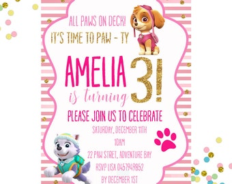 Paw Patrol Invitation, Paw Patrol Birthday Invitation, Girls Birthday Invitation