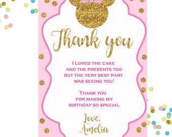 Minnie Mouse Printable Thank You Card