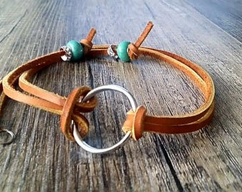 Women's leather necklace, O ring necklace, Teal necklace, Long necklace, glass bead necklace, tan necklace, y necklace, Cowgirl necklace