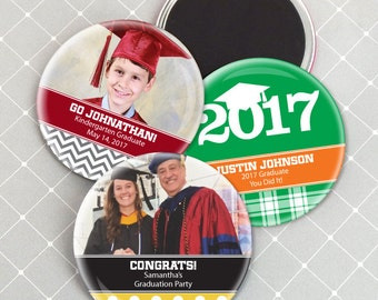 Graduation Magnets, Personalized Magnet Favors, Personalized Magnets - Set of 24