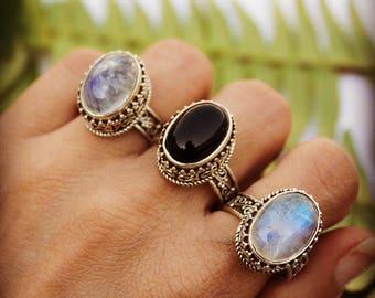 Genuine Moonstone Ring, Rainbow Moonstone Ring, Sterling Silver Ring, Handmade Ring,  Boho Ring - June Birthsone - Natural Moonstone Jewelry