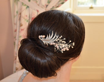 Vintage Fern Bridal Hair Comb Hairpiece with Pearls and Swarovski Crystals