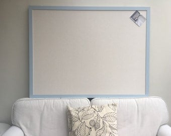 Huge fabric pin board. Fabric bulletin board. Cork wall planner. Fabric message board. Blue pin board. Blue cork board. Linen notice board.
