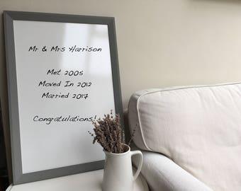 Framed Whiteboard Framed Notice Board Housewarming Gift Grey Bulletin Board White Board