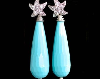 Handmade CZ Starfish & Faceted Turquoise Dangle Earrings (Sparkle-2026)