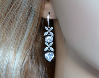 Vintage Inspired Estate Fancy Shapes CZ Dangle Earrings, Wedding, Bridal  (Sparkle-913)