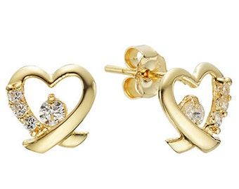 14k Solid Yellow Gold Stud Earrings 7855 Charming Heart Cubic Design Lovely