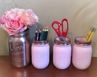 Painted jars perfect for dorm room or desk storage