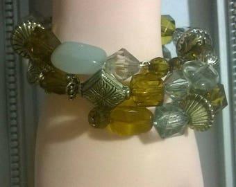 memory wire goldtone beaded bracelet