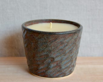 8 oz. hand-poured, organic beeswax candle in carved stoneware pot - wild fig and cassis fragrance