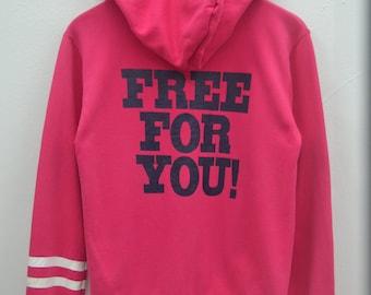 "SUPER LOVERS Sweater Vintage Super Lovers Old Skool Lovers Rock ""Free For You"" Zipper Sweater Sweatshirt Hoodies Size S"