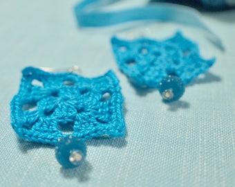 Statement earrings, Blue earrings, Crochet earrings,  Textile earring, One of a kind, Handmade earring, Mother's Day Gift