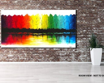 "ORIGINAL LANDSCAPE PAINTING abstract  47"" textured landscape/forest, multicoloured, canvas"