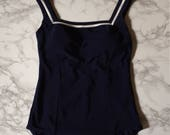 navy blue maillot   nautical striped one piece swimsuit