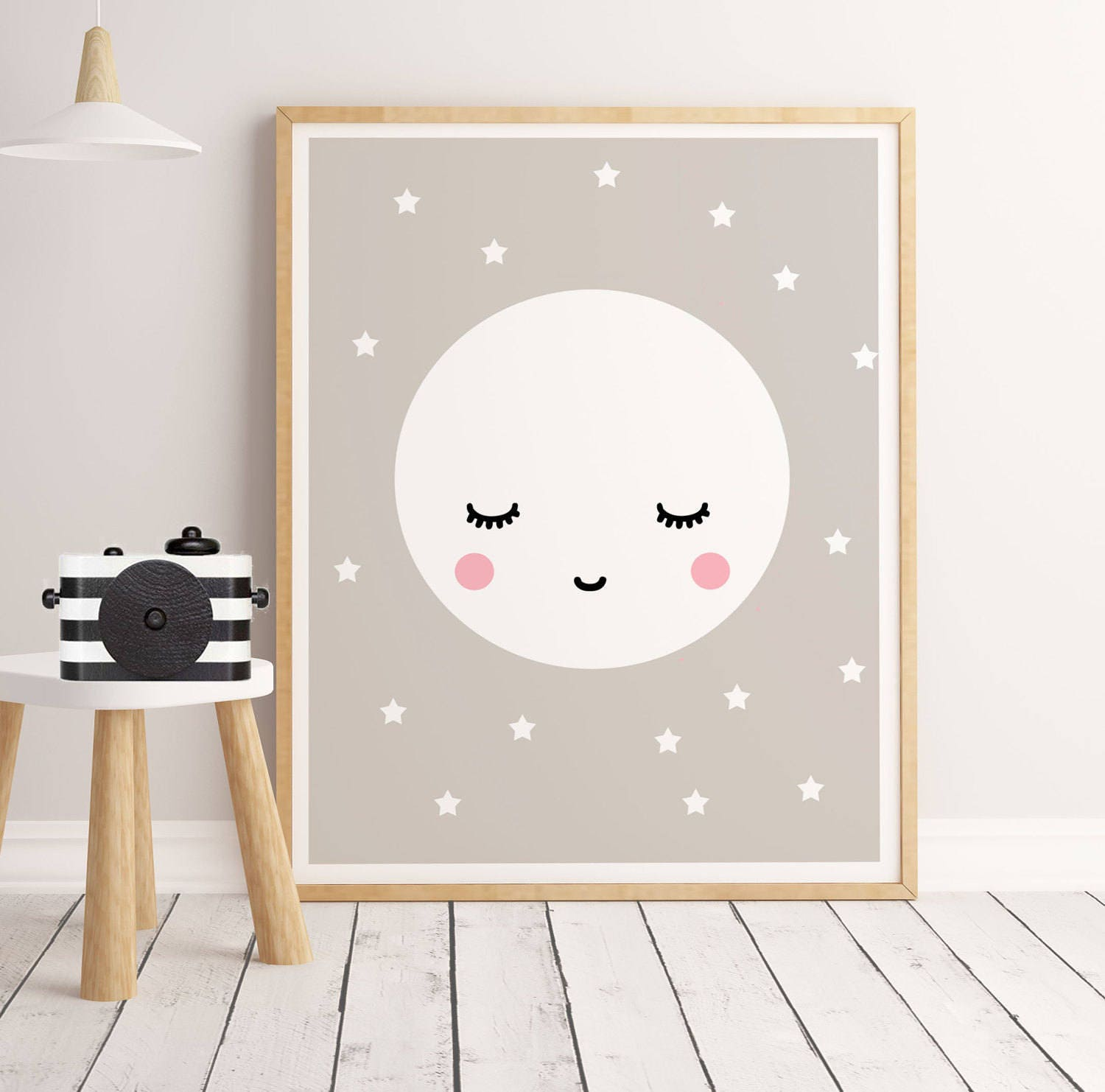 Sale Sleepy Eyes Scandinavian Nursery Print Sleepy Moon Print
