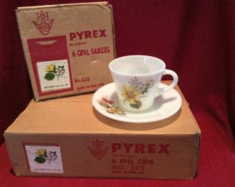 SALE Pyrex JAJ Autumn Glory Dahlia Boxed set of 6 Cups and 6 Saucers circa 1960
