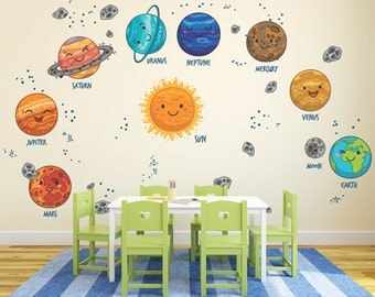 Kids Solar System Decals / Kids Solar System Bedroom Decal / Cartoon Planets Wall Stickers / Decals for Nursery - DASHWD10004