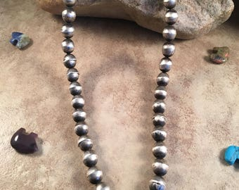 Vintage Navajo Sterling Silver Beaded Necklace