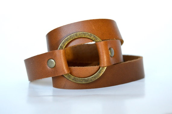 Brown Leather Wrap Bracelet With Ring: Genuine Leather Cognac Brown Wrap Bracelet--Joanna Gaines Inspired Cuff