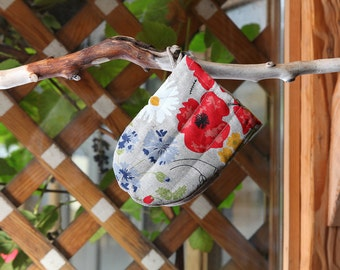 Linen Cotton Oven Glove Meadow, Oven Mitt With Flowers, Kitchen Glove, Pot Holder, Cute Linen Oven Glove