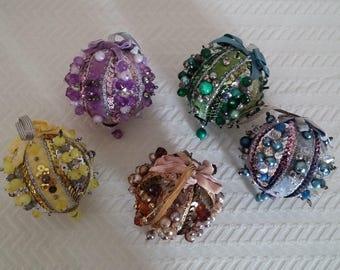Vintage Handmade Christmas Ornaments, Set of 5 Handmade Vintage Christmas Ornaments, Vintage Sequin and Bead Christmas Ornaments