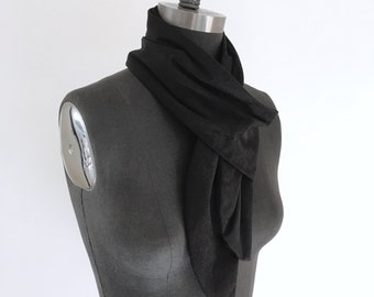 Black Suede Leather Scarf Warm Light