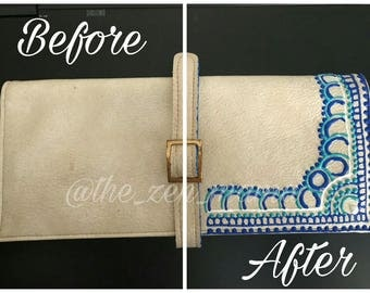 Henna Inspired - Handpainted Trifold Wallet