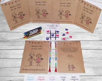 Personalised Childrens Wedding Activity Pack Book Favour Cute Vintage Kraft AB12
