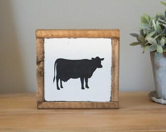 Wood Cow Sign - Handmade Mini Wooden Cow Sign - Farmhouse Sign - Farmhouse Decor - Rustic Cow Sign - Handpainted Cow Art - Farm Animal Art