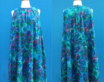 1960s dress/lord and taylor/trapeze dress/blue/green/purple/watercolor floral/medium/size medium/large/mad men