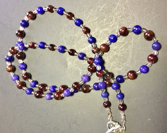 Smoky Quartz and Lapis with Silver Necklace