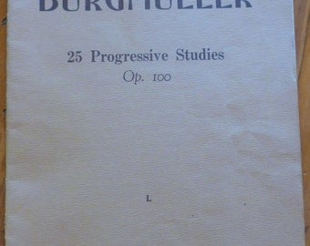 Vintage Sheet Music, Burgmuller Sheet Music, 25 Progressive Studies OP 100, Printed in Australia, Etudes, Music Ephemera, Mixed Media