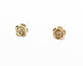 9ct Yellow Gold Small Rose Stud Earrings