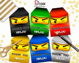 Ninja Thank You tag, Ninja Thank You card, Ninja Party Printable,Ninja Thank You tag, Ninja Thank You card