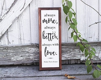 Always With Love, Religious, Mother Maria, Framed Wooden Sign, Farmhouse, Rustic Sign, Wood Sign, Wall Hanging