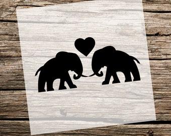 Elephant Love | Elephants | 12 x 6 | Reusable Stencils | Custom Stencil | Custom Stencils | Ready to use | Get Ready to Paint! |