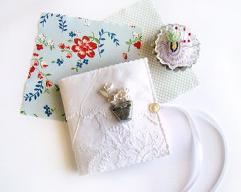 Embroidery Accessory, Needle Book, Sewing Gift, Re-purposed Linen, Needle Storage Needle Case, Sewing Notions Embroidery Case