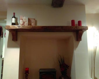 Rustic mantle piece shelf with Jacobean wax finish