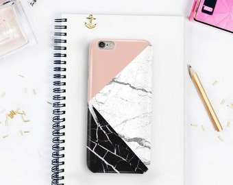 Pink Geometric Marble iPhone Case, Marble Print, Black Marble, White Marble, Phone Case Cover iPhone 7 iPhone 6 iPhone 5 \ hc-pp192