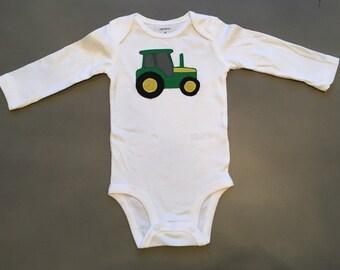 john deere bodysuit, Tractor Bodysuit, little green tractor, southern baby, yellow and green tractor, john deere