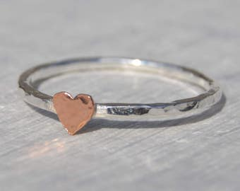 Silver Ring with Gold Heart, Silver Stacking Ring, Heart Stacking Ring, Silver Stacking Ring, Dainty Ring, Heart Jewellery, 9ct Gold Heart