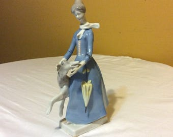 French Country Porcelain Young Lady with Grayhound Dog