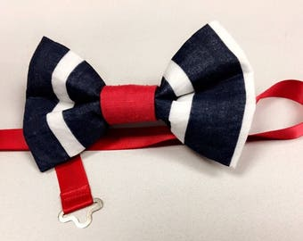 Red white and blue bow tie