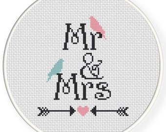 Mr and Mrs. WEDDING. Digital Cross Stitch Pattern in PDF