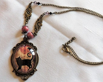 The Raven and the black cat - illustrated large Medallion necklace handmade