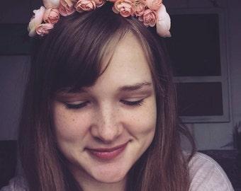 Flower crown, Pink flower crown, bridal headpiece,  Flower headband, wedding headpiece, prom headpiece,  baby shower headpiece, floral crown