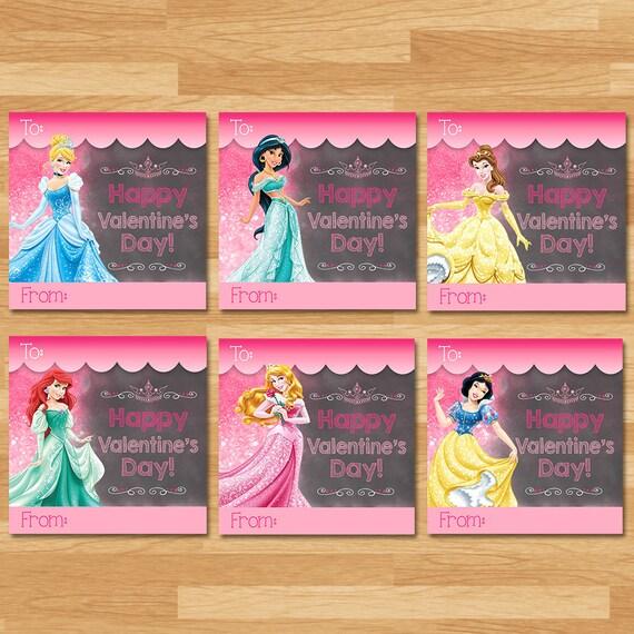 Disney Princess Valentine's Day Card - Chalkboard - Disney Princess Valentine - Disney Princess School Valentines Day -Disney Princess Party